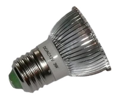 led lampe 12 volt dc e27 3 x 1 watt mit dekorippen spot. Black Bedroom Furniture Sets. Home Design Ideas
